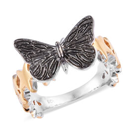 Platinum, Yellow and Rose Gold with Black Overlay Sterling Silver Butterfly Ring