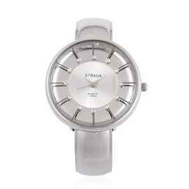STRADA Japanese Movement Water Resistant Silver Colour Bangle Watch with Studded White Austrian Crystal