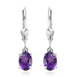 Amethyst (Ovl) Lever Back Earrings in Platinum Overlay Sterling Silver 1.500 Ct.
