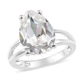 J Francis Swarovski White Crystal Solitaire Ring in Sterling Silver