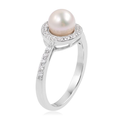 Japanese Akoya Pearl (Rnd 7-8mm), Natural White Cambodian Zircon Ring in Platinum Overlay Sterling Silver