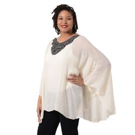 Swing Top with Embroidery Kaftan (Size 130x75cm) - Beige