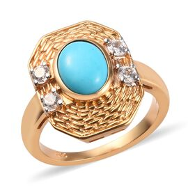 Sleeping Beauty Turquoise and Zircon Solitaire Ring in 14K Gold Plated Sterling Silver,1.75 Ct