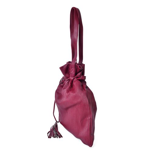 Super Soft Pleated Embossed Bag with Tassel Charm (Size 42X35 Cm)
