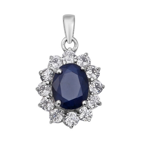 4.77 Ct Blue Sapphire and White Zircon Halo Pendant in Rhodium Plated Sterling Silver