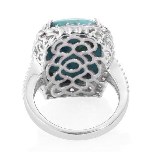 Arizona Matrix Turquoise (Cush 13.30 Ct), Natural Cambodian Zircon Ring in Platinum Overlay Sterling Silver 15.500 Ct.