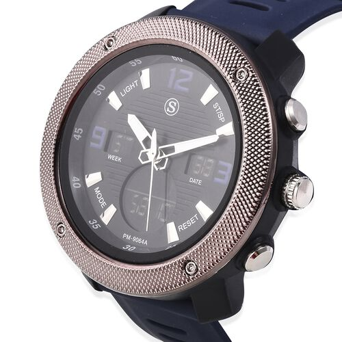 STRADA Japanese and Electronic Movement 5ATM Water Resistant Sports Watch in Stainless Steel with Navy Blue Silicone Strap