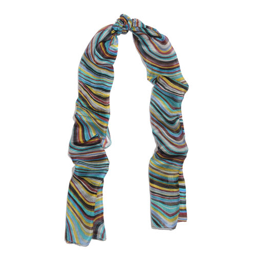 100% Mulberry Silk Green, Brown, Yellow and Multi Colour Wave Printed Scarf (Size 180x50 Cm)