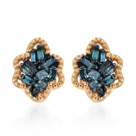 Blue Diamond (Bgt) Stud Earrings (With Push Back) in 14K Gold, Blue and Platinum Overlay Sterling Silver