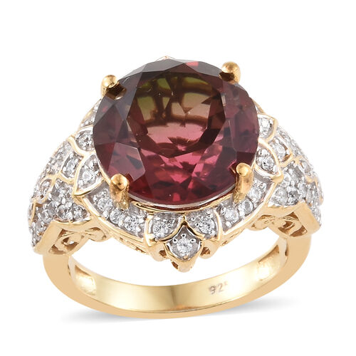 Finch Quartz (Rnd), Natural Cambodian Zircon Floral Ring in 14K Gold Overlay Sterling Silver 7.500 C