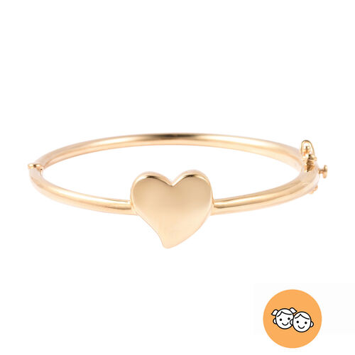 RACHEL GALLEY Yellow Gold Overlay Sterling Silver Kids Heart Bangle (Size 6.2), Silver wt 13.95 Gms