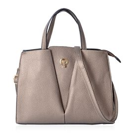 Close Out Deal Metallic Bronze Colour Tote Bag with Removable Shoulder Strap Size 32x27x12 Cm