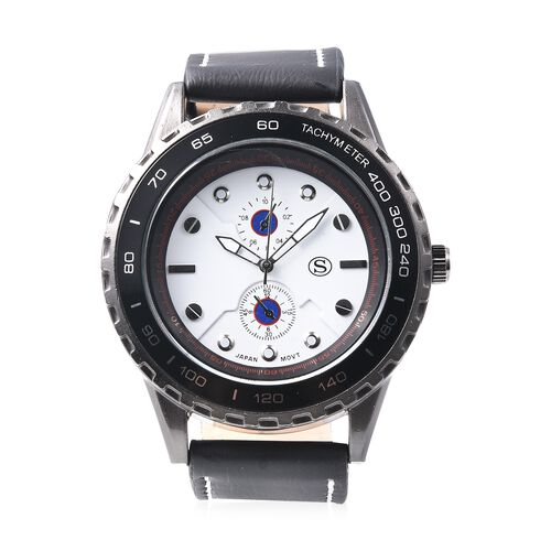 STRADA Japanese Movement Water Resistance Sporty Look Watch with Black Strap and White Dial