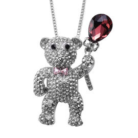 Black and White Austrian Crystal, Simulated Rhodolite Garnet, Simulated Pink Sapphire Teddy Bear Pen