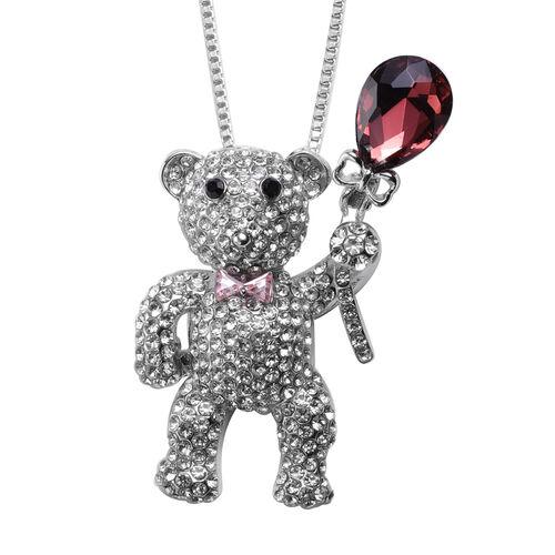 Black and White Austrian Crystal, Simulated Rhodolite Garnet, Simulated Pink Sapphire Teddy Bear Pen