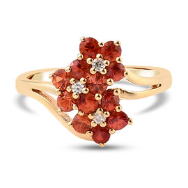 Orange Sapphire and Natural Cambodian Zircon Floral Ring in Yellow Gold Overlay Sterling Silver 1.01