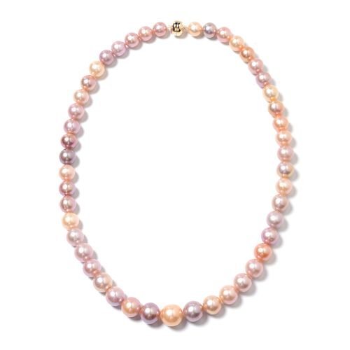 Multi Colour Edison Pearl Beaded Necklace in 9K Yellow Gold 20 Inch