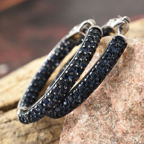 Kanchanaburi Blue Sapphire (Rnd) Hoop Earrings (with Clasp Lock) in Blue and Platinum Overlay Sterling Silver 3.500 Ct. Silver wt 8.47 Gms. Number of Gemstone 120