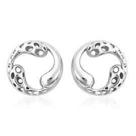 RACHEL GALLEY Rhodium Overlay Sterling Silver Latticework Stud Earrings (with Push Back)