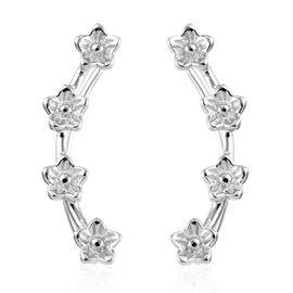 Platinum Overlay Sterling Silver Flower Climber Earrings