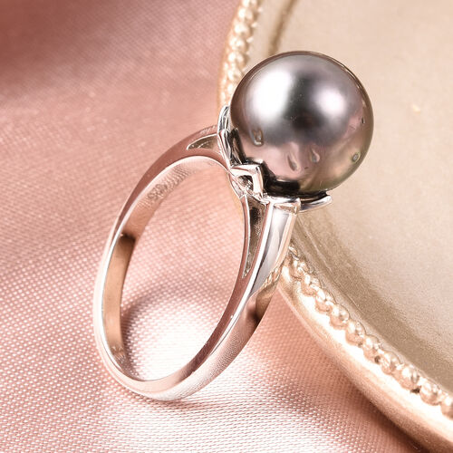 Galatea Pearl - Tahitian Momento Talking Pearl Ring in Rhodium Overlay Sterling Silver