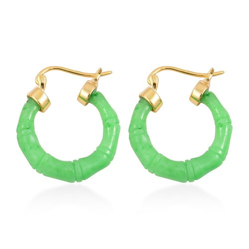 Bamboo Carved Green Jade Hoop Earrings (with Clasp) in Yellow Gold Overlay Sterling Silver 17.500 Ct.