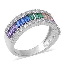 ELANZA Simulated Rainbow Sapphire (Bgt), Simulated Diamond Ring  in Rhodium Overlay Sterling Silver