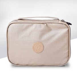 Portable Makeup Bag (Size 22x5x15x5cm) with Wrist Band Handle in Gold Colour