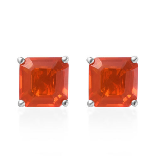 RHAPSODY 2.50 Ct AAAA Jalisco Fire Opal Asscher Cut Stud Solitaire Earrings in 950 Platinum