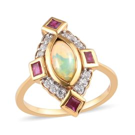 Ethiopian Welo Opal, African Ruby and Natural Cambodian Zircon Ring in 14K Gold Overlay Sterling Sil