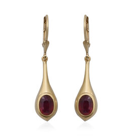 African Ruby Lever Back Earrings in Yellow Gold Overlay Sterling Silver 2.28 Ct.