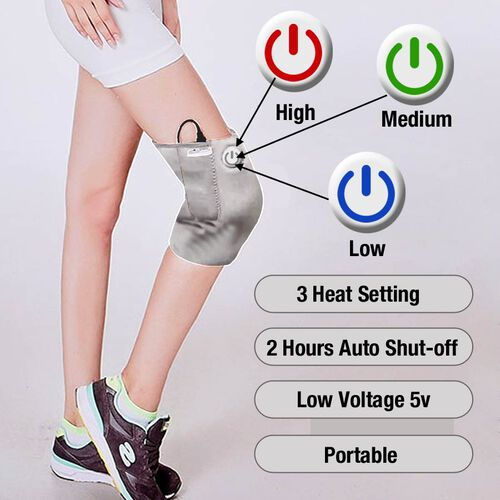 2 in 1 USB Powered Heated Knee Belt with Ice Gel Bag and 3 Heat Setting with Low Voltage (Size 52x28 Cm) (Power Bank, Adapter or USB not Included) - Silver