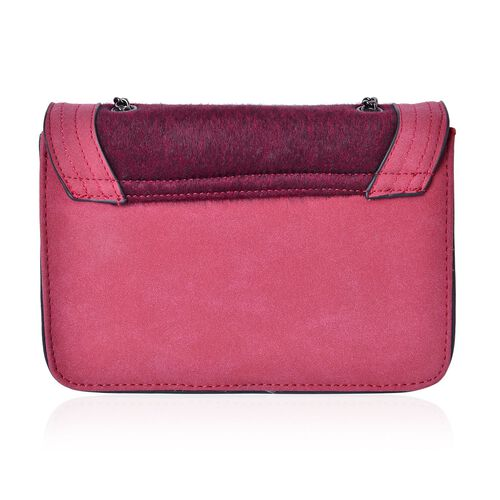 Burgundy Colour Faux Fur Crossbody Bag with Chain Strap (Size 21x15x6.5 Cm)
