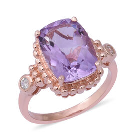 Rose De France Amethyst (Cush 14x10 mm), Natural White Cambodian Zircon Ring in Rose Gold Overlay St