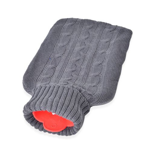 Set of 2 - Hotwater Grey and Red Colour Knitted Bottle Cover (Size 32X18 Cm)