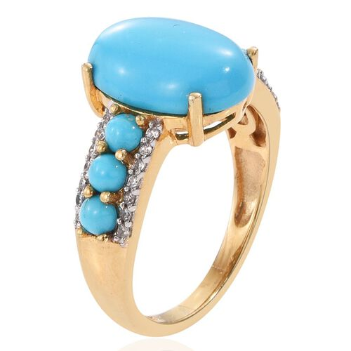 Arizona Sleeping Beauty Turquoise (Ovl 4.20 Ct), Natural Cambodian Zircon Ring in 14K Gold Overlay Sterling Silver 5.250 Ct.
