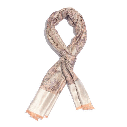 100% Modal Reversible Light Purple, Golden and Multi Colour Flower and Leaves Pattern Jacquard Scarf