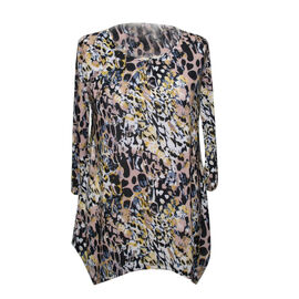 Ladies Super Soft Longline Black and Multi Colour Printed Top