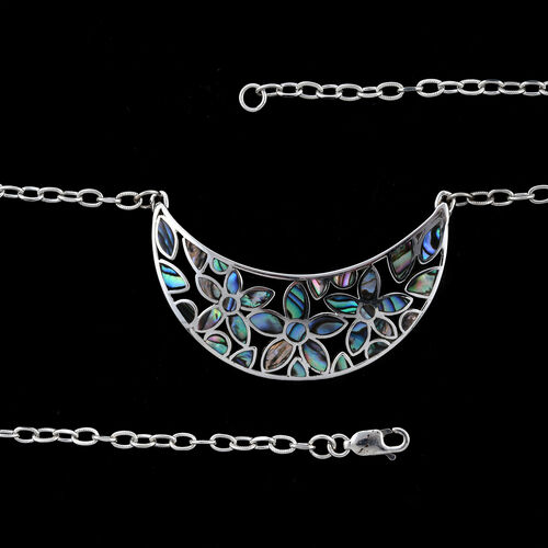 Royal Bali Collection Abalone Shell Crescent Moon Pendant Necklace (Size 20) in Sterling Silver, Silver wt 6.53 Gms.