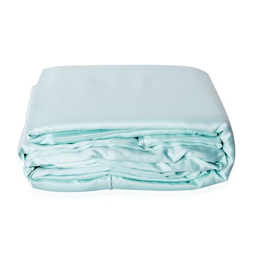 Double Size Set of 4- Mint Colour Matt Satin Duvet Cover (Size 200x200 Cm), Fitted Sheet (Size 190x140x30 Cm) and 2 Pillow Cases (75x50 Cm)