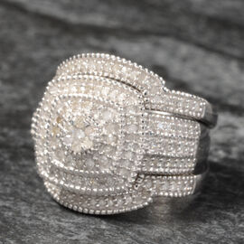 Limited Edition- Set of 3 - Designer Inspired Diamond (Rnd) Stacker Ring (Size N) in Platinum Overlay Sterlin