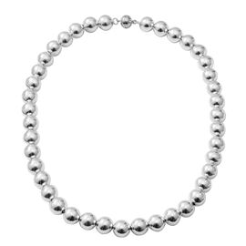 Designer Inspired Rhodium Overlay Sterling Silver Graduated Necklace (Size 20) with Magnetic Lock Silver wt 51.00 Gms.