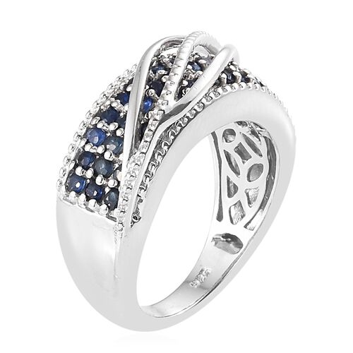Kanchanaburi Blue Sapphire (Rnd) Ring in Platinum Overlay Sterling Silver 1.250 Ct, Silver wt. 6.50 Gms