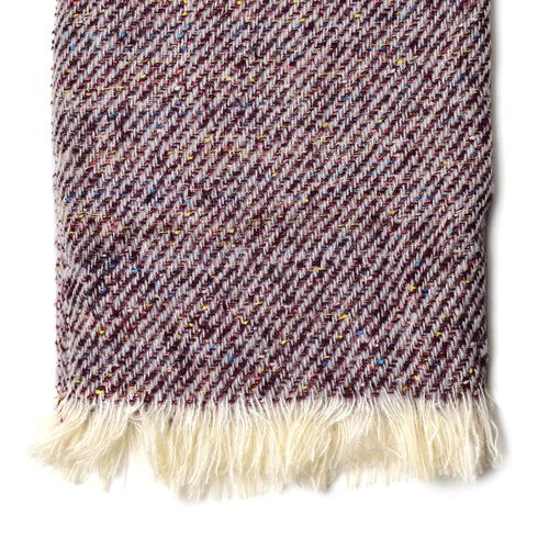 Designer Inspired-Chocolate, Grey and Multi Colour Stripes Pattern Blanket Shawl (Size 180X60 Cm)