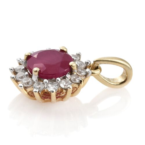 1.25 Ct AA African Ruby and Natural Cambodian Zircon Halo Pendant in 9K Gold