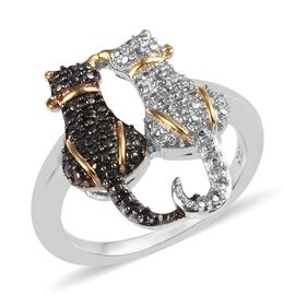 Black and White Diamond Twin Cat Ring in Platinum and Yellow Gold Overlay with Black Plating Sterlin