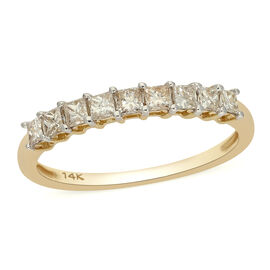 Close Out 14K Yellow Gold SGL Certified Natural Diamond (I1-I2/G-H) Half Eternity Ring 0.50 Ct.