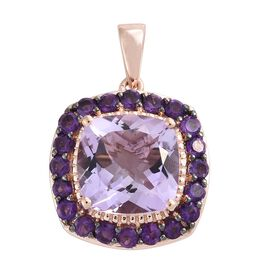 Rose De France Amethyst (Cush 6.65 Ct), Amethyst Pendant in Black and Rose Gold Overlay Sterling Silver 8.000 Ct.