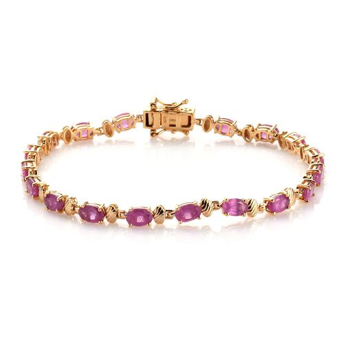 Pink Ruby bracelet (Size 7) in 14K Gold Overlay Sterling Silver 9.00 Ct, SIlver wt. 6.99 Gms