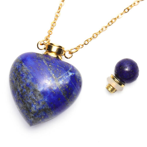 Lapis Lazuli Heart Shaped Perfume Bottle Necklace (Size 22) in Yellow Gold Tone 453.00 Ct.